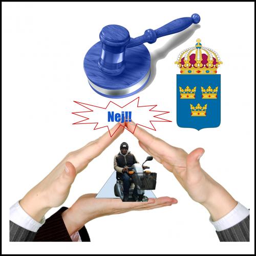Ilustration på tre händer som formar ett tak och en person som sitter i sin permobil i mitten. symbolik för boende brist
