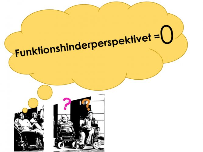 illustration på saknaden av funktionshindersperpektivet, rullstols användare som står och undrar